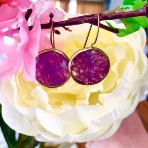 Glass earrings- Purple and gold